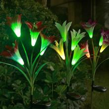 Lantern Lawn-Lamp Decorative Garden-Lighting Solar-Panel Led Outdoor 2pcs 4-Heads