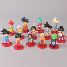 13pcs Dragon Ball Goku Gohan Wu Tian Bick Kiki Bulma Vegeta Action Figures Figurine Collectible Model Toy 8cm Cake decoration качели wu yue tian