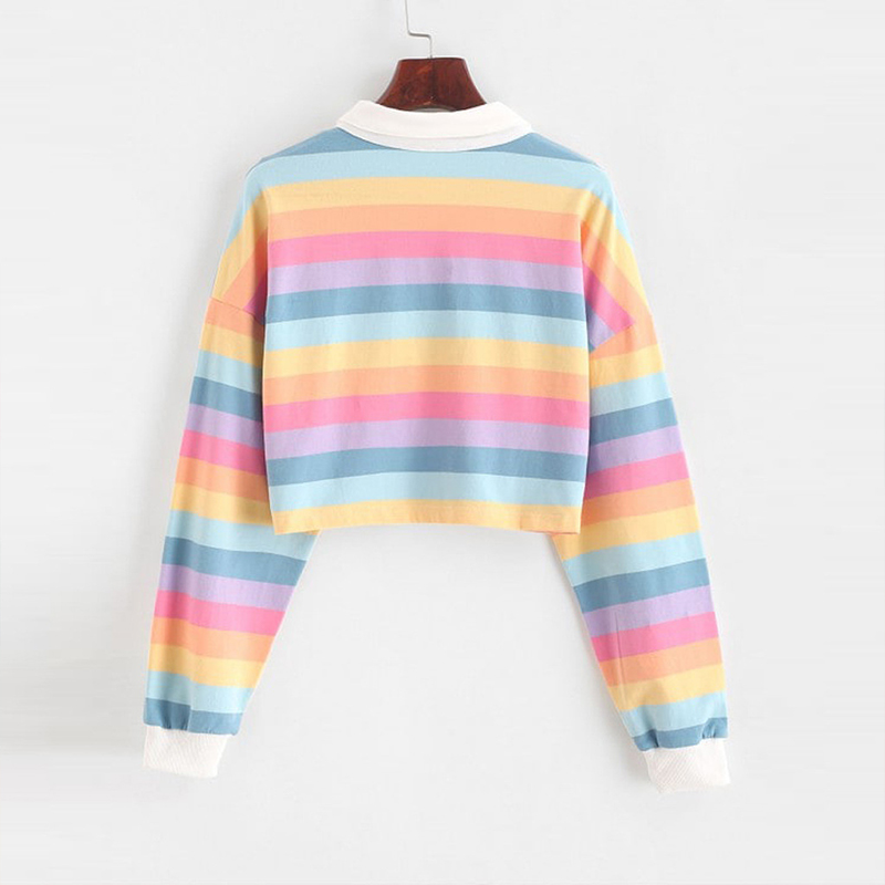 QRWR 2020 Polo Shirt Women Sweatshirt Long Sleeve Rainbow Color Ladies Hoodies With Button Striped Korean