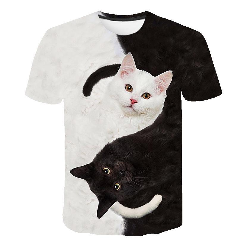 Siyah ve beyaz kedi T-shirt sevimli kedi bask 3DT t-Shirt elenceli kedi gmlek T-shirt yaz rahat kadn st T-shirt