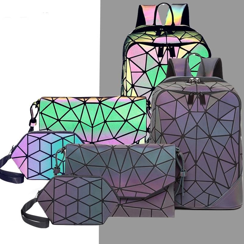 2020 Holographic Laser Backpack Women Luminous Plaid Hologram Designer Backpack Set High Quality School Bag +shoulder Bag +purse