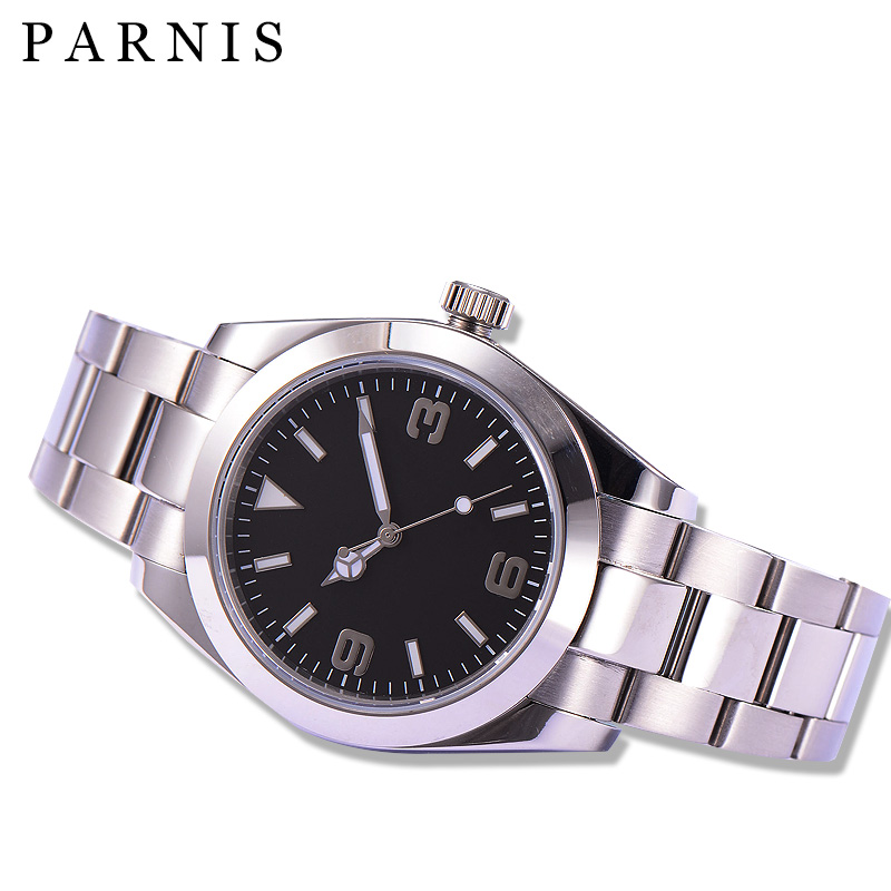 <font><b>Parnis</b></font> Sapphire Glass Black Dial <font><b>40mm</b></font> Men's Automatic <font><b>Watch</b></font> image