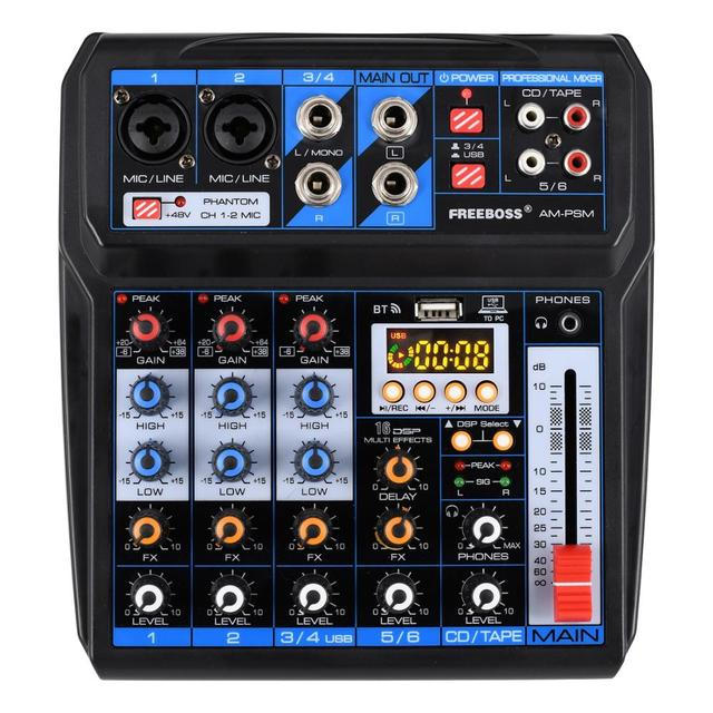 Freeboss AM PSM DC 5V Power Supply USB Interface 6 Channel 2 Mono 2 Stereo 16 Effects Audio Mixer