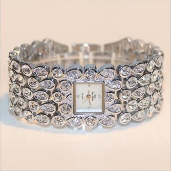 2020 Hot Sales Women Full Rhinestone Watches Lady Shining Dress Watch Square Rose Gold Bracelet Wristwatch Ladies diamond Watch