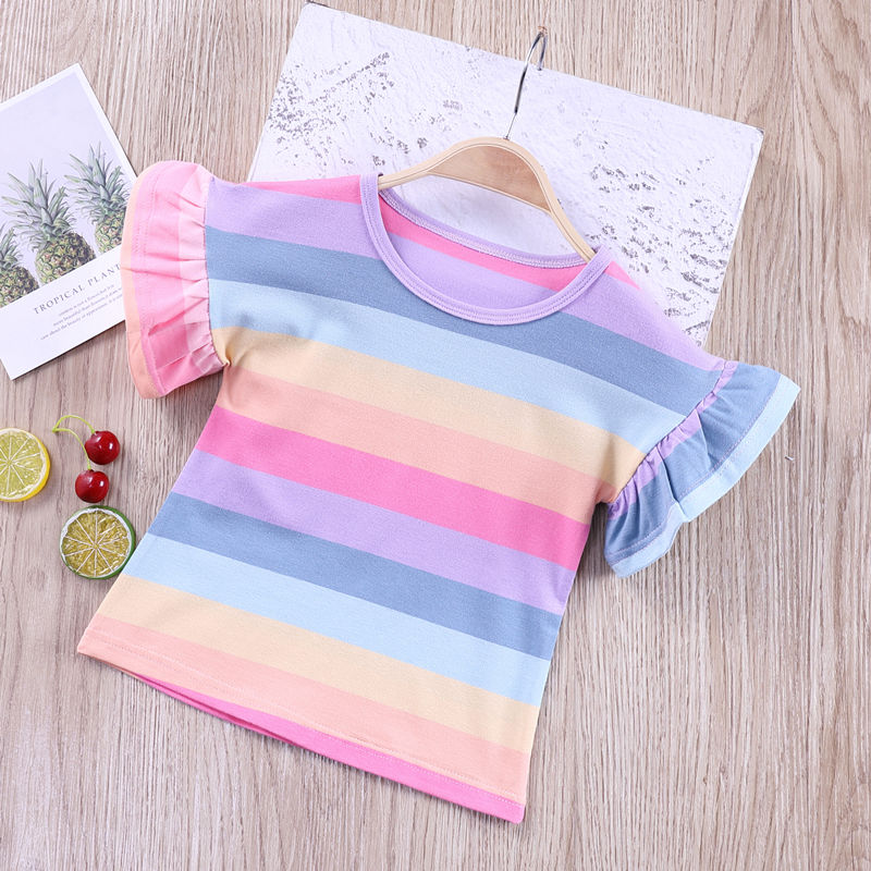 VIDMID Summer Fashion  T-shirt Children Girls Short Sleeves  Tees Baby Kids Cotton Tops For Girls Clothes   1-8Y  P1055 4