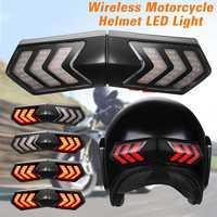 12 v sem fio capacete da motocicleta led luz de segurança luzes freio indicadores sinal volta|  -