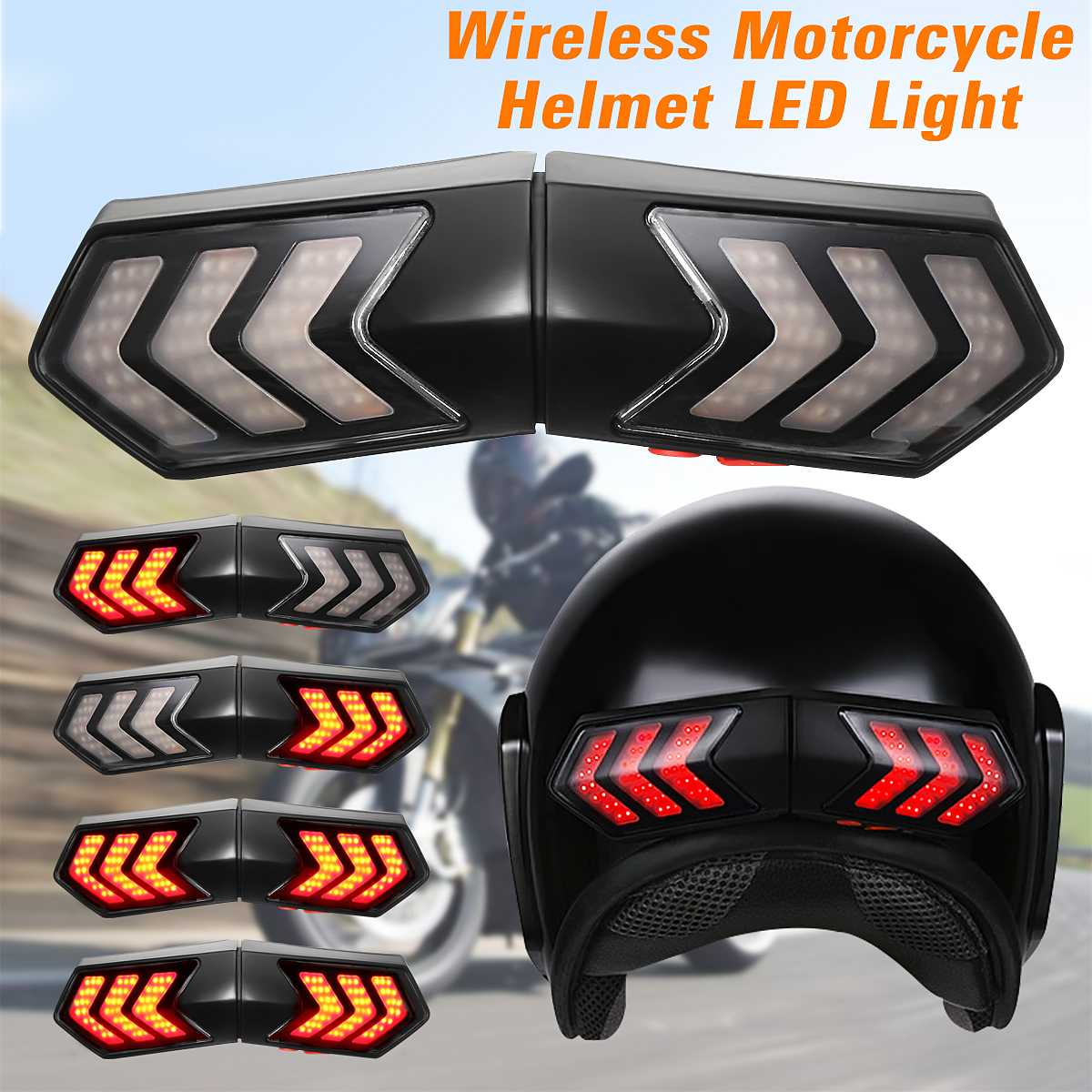 12V Wireless Motorcycle Helmet LED Safety Light Brake Lights Turn Signal Indicators