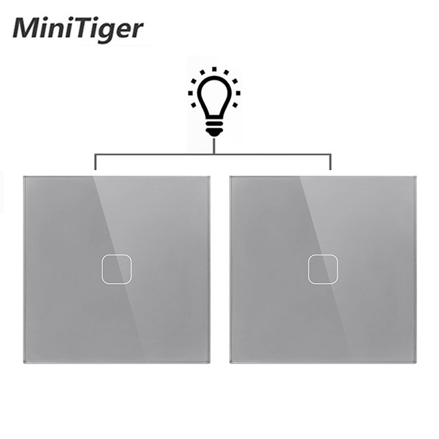 Minitiger EU/UK standard Gray Crystal Glass 1 Gang 2 Way Touch Switch Panel Touch Switch Light Wall Only Touch Function Switch