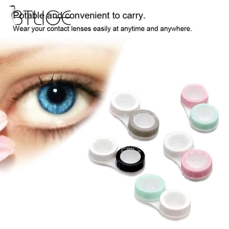 1pcs Contact Lens Case Eye Care Box Double-box Color Randomly Eyewear Bag Keeps Contact Lenses Safe Solid Color