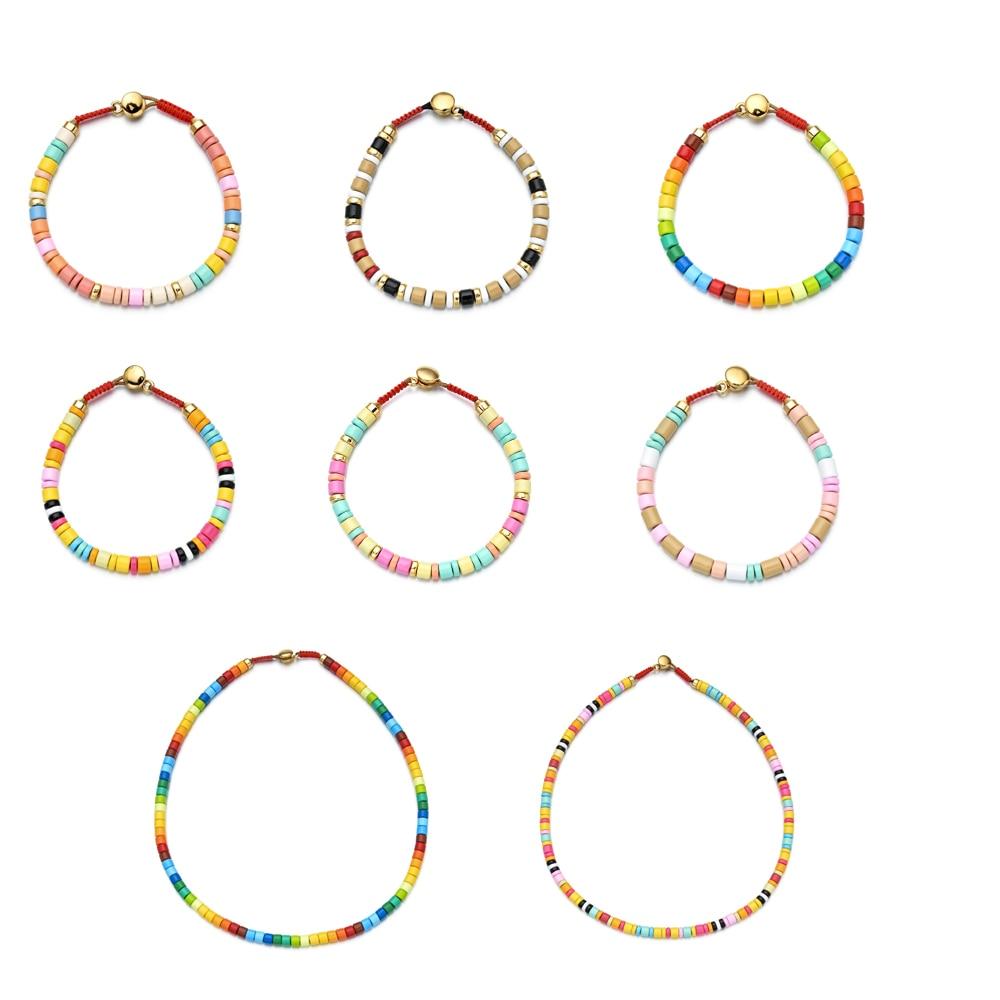 2020 New Boho Spring Rainbow Bracelets Colorful Enamel Beaded Bracelet Elastic String Tile Bracelet Cuff Bangles for Women Gift(China)