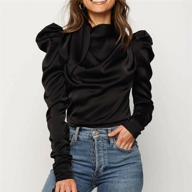 2019 New Women Satin   Blouses   Bow Neck Long Sleeve Elegant   Blouse   Office Lady   Shirts     blouse   Female Blusas