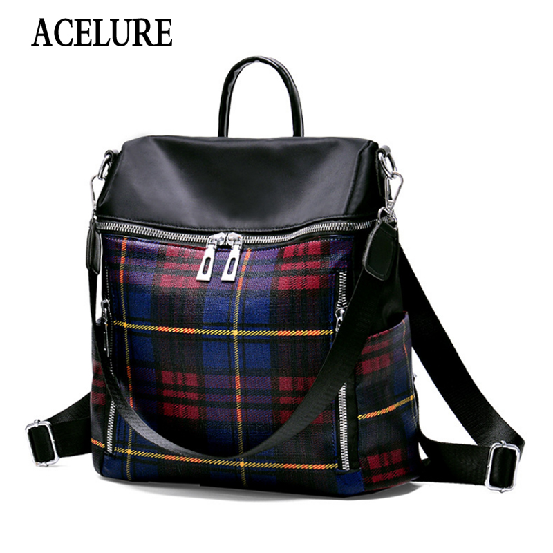 ACELURE Solid Tracel Shopping Bags Plaid PU Leather Backpacks Women High-capacity School Bags All-match Casual Soft Fashion Bags