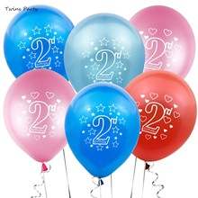 Twins 10pcs Happy 2nd Birthday Balloons Boy Girl I AM TWO For Baby Shower 2 Years Old  Decor Kids