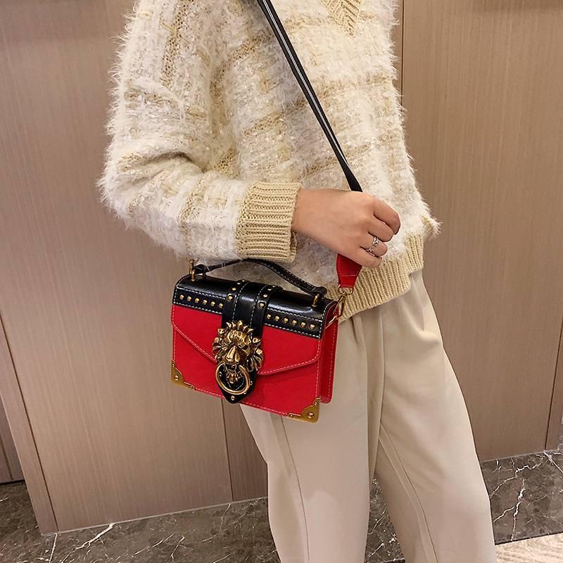H726671522ff54c4fba2be95d8c59894f6 - Female Fashion Handbags Popular Girls Crossbody Bags Totes Woman Metal Lion Head  Shoulder Purse Mini Square Messenger Bag