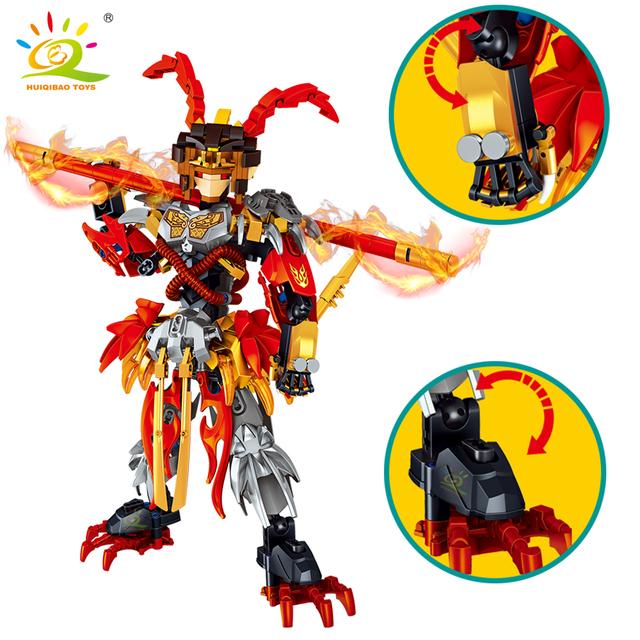 HUIQIBAO 316pcs Monkey King Warrior Mech Sun Wukong monkie Mecha figures building blocks bricks set children Toys kids gift