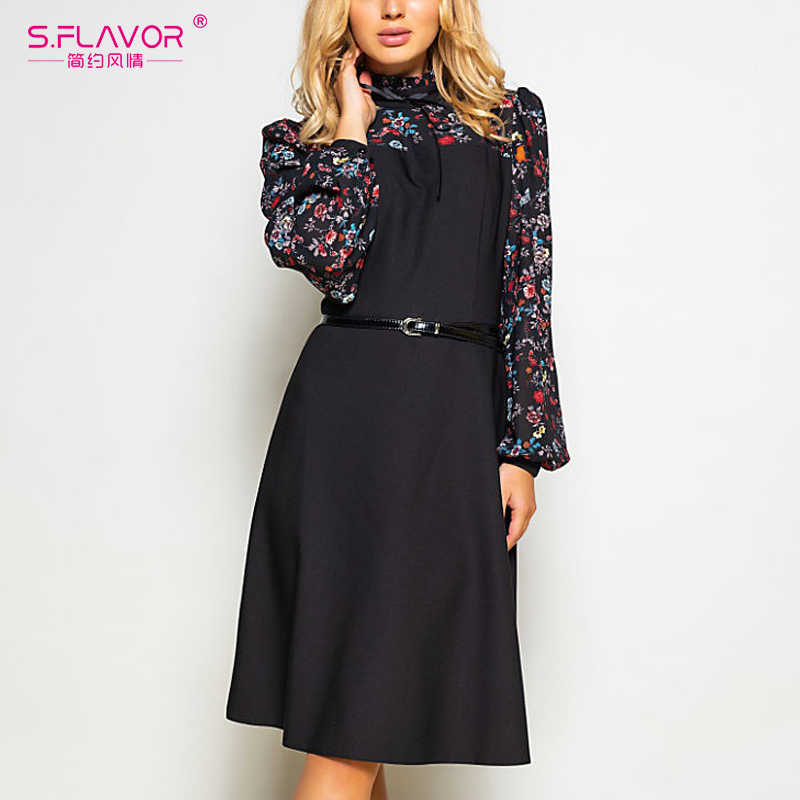 S.FLAVOR Women Spring Fashion Vintage A-line Dress NO Belt Elegant Flower Print Patchwork Dress Slim Working Dress Wear Office