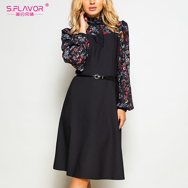 S.FLAVOR Women Autumn Fashion Vintage A line Dress NO Belt Elegant Flower Print Patchwork Dress Slim Winter Working Dresses