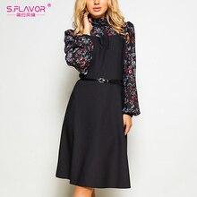 S. sabor feminino outono inverno vintage a line vestido sem cinto elegante flor impressão retalhos manga comprida vestido de festa vestidos