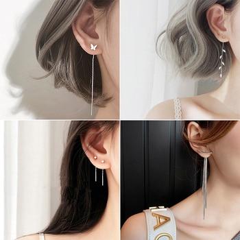 Korean Geometric block Long Tassel Bar Drop Earrings For Women Minimalism Personality Ear Line Dangle jewelry Gift