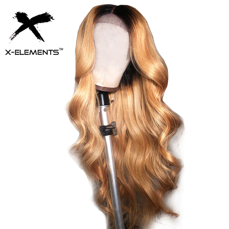 Wigs Closure Lace-Wig Blonde Human-Hair Body-Wave Black Women Peruvian Pre-Plucked 4x4