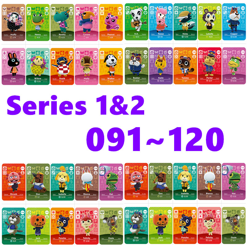 Animal Crossing Card Nfc Amiibo Card Work For NS Games Series 1/2 For Nintend Switch And Switch Lite (091 To120)