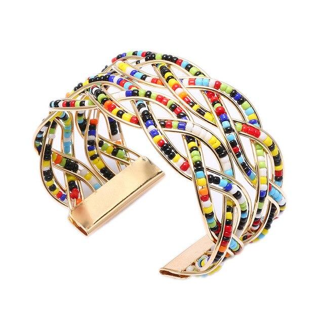Bracelet large manchette Bracelet Bracelets perlés surdimensionné déclaration bijoux bras manchettes bijoux faits à la main cadeau