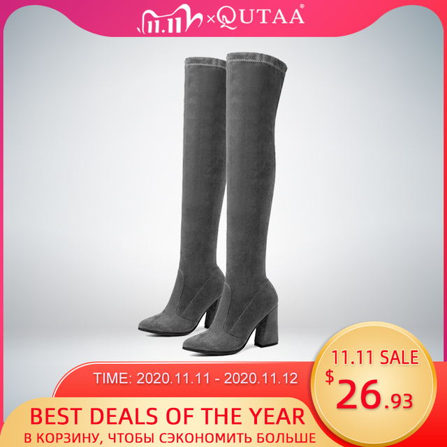 QUTAA 2020 kobiety ponad buty do kolan moda wszystko mecz szpiczasty nosek buty zimowe eleganckie wszystkie mecz kobiet rozmiar butów 34 43