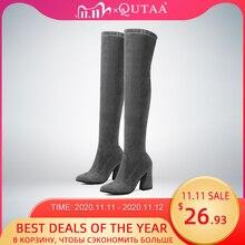 Qutaa 2020 mulheres sobre o joelho botas altas moda todos os jogos apontou toe sapatos de inverno elegante todos os jogos botas femininas tamanho 34 43