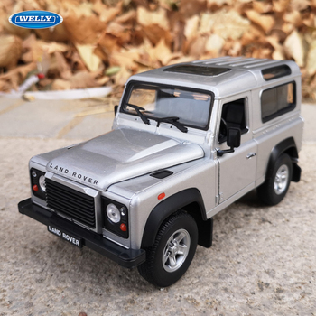 WELLY 1:24 Land Rover Defender Silver sports car simulation alloy car model crafts decoration collection toy tools gift cathy lamb if you could see what i see