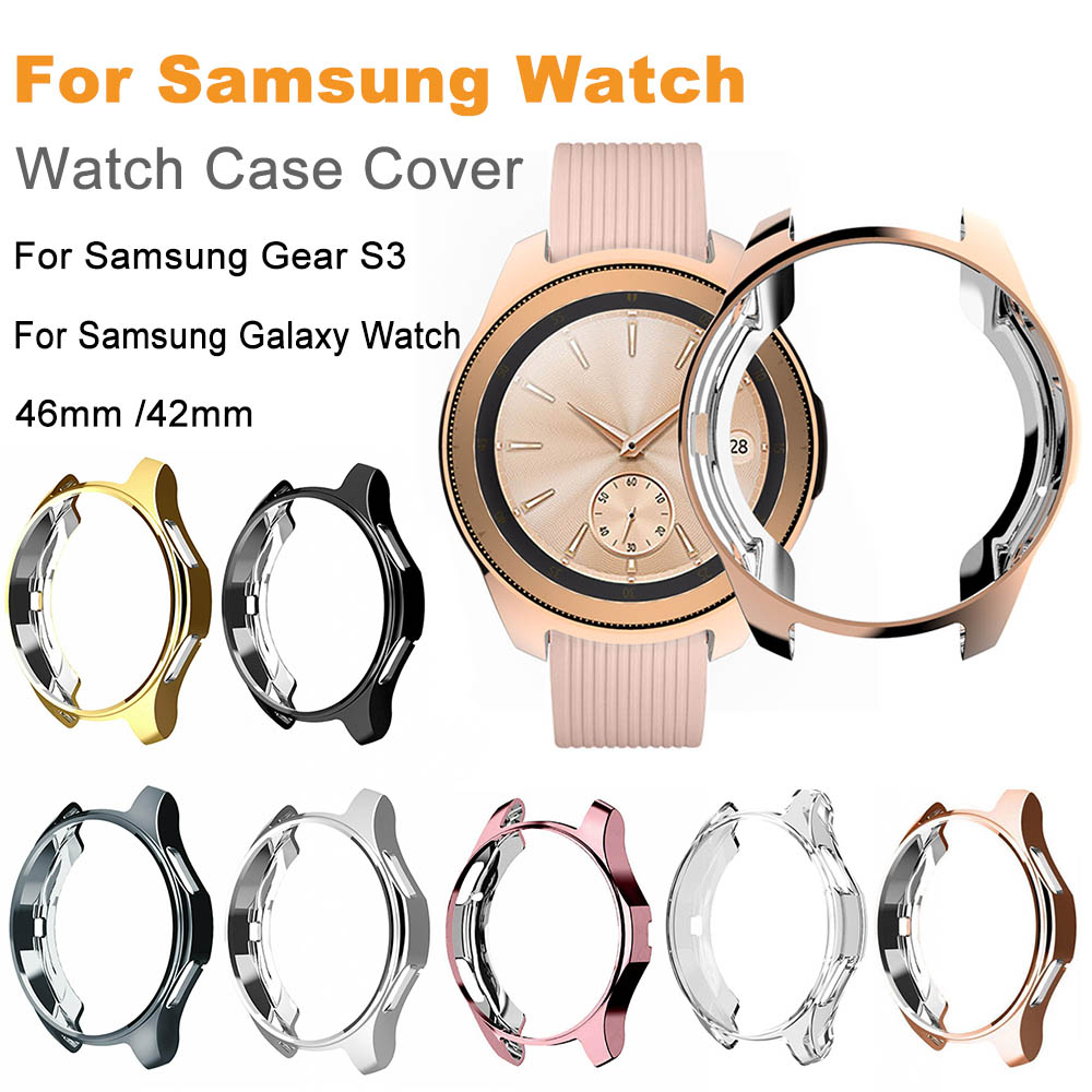 2pcs TPU Slim Protective Case Cover for Samsung Galaxy Watch 46mm 42mm Frame for Gear S3 Frontier Bumper Accessories