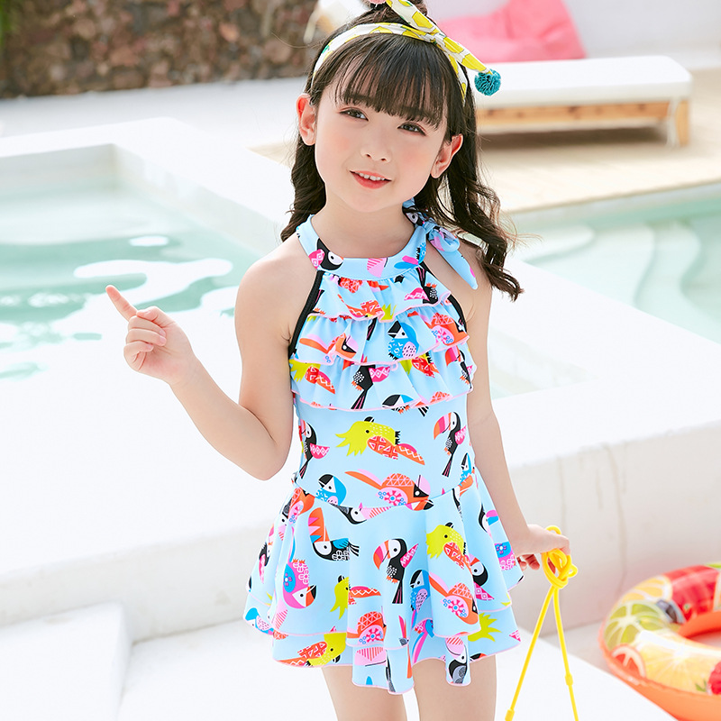 2019 New Style Hot Sales KID'S Swimwear Halter Multilayer Flounced Dress-Hot Springs Hipster GIRL'S Swimsuit