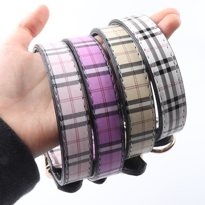 Amin Lattice New Products Pet Collar Fashion Tiao Wen Kuan Pu Gou Neck Ring In Small Dogs Neck Ring