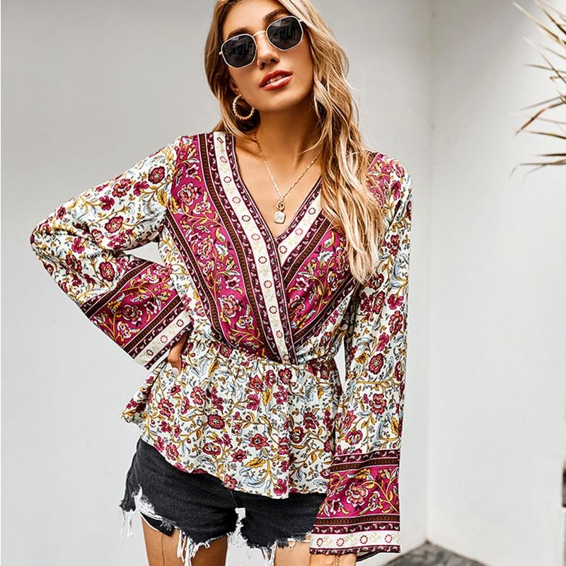 Купить gypsylady винтажная цветочная бохо блузка рубашка топ осень