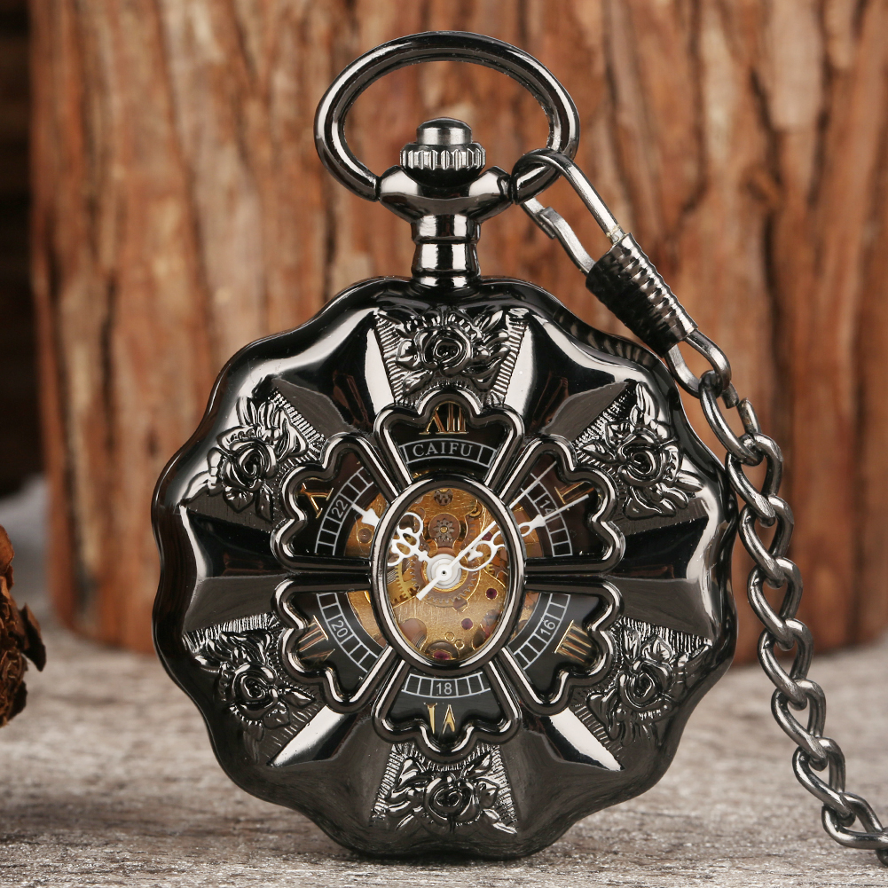 Vintage Black Pumpkin Luminous Mechanical Pocket Watch Hollow Analog Skeleton Clock Steampunk Hand Winding Fob Pendant Watches