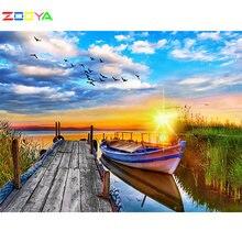 Zooya алмазная живопись 5d Сделай Сам закат полностью квадратные/круглые