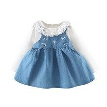 Children Girls Clothing Baby Denim Stitching Dresses Long Sleeve Tops Cute O-Neck Sweet Princess Dress