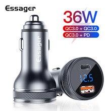 Essager 36w usb carregador de carro carga rápida 3.0 pd qc 3.0 tipo c adaptador de carregamento no carro display led carregador de carro para iphone xiaomi
