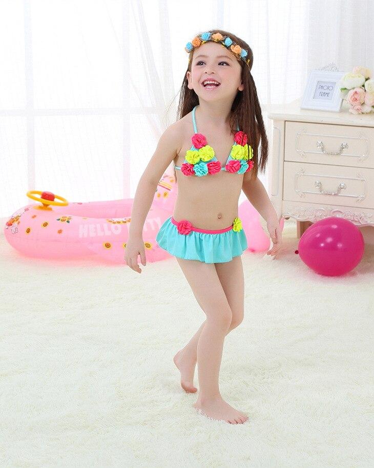Micro 2017 Blue Lace-up Pompon Bikini KID'S Swimwear GIRL'S Cool Swimwear