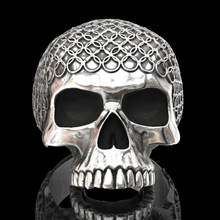 цена на New Gothic Punk Skull Men Ring Personality Design Silver Color Circle Skull Ring For Men Punk Motorcycle Rock Jewelry Wholesale