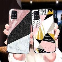 Mermer taş durumda Samsung Galaxy A51 durumda lüks temperli cam koruyucu tampon Samsung A71 A41 A31 M31 kapak Coque