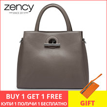 Zency Fashion Women Tote Bag 100% Genuine Leather Handbag Black Lady Crossbody Messenger Purse High Quality Shoulder Bags(China)