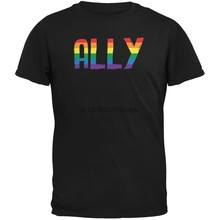 Funny LGBT Ally Pride Black Adult T-Shirt(China)