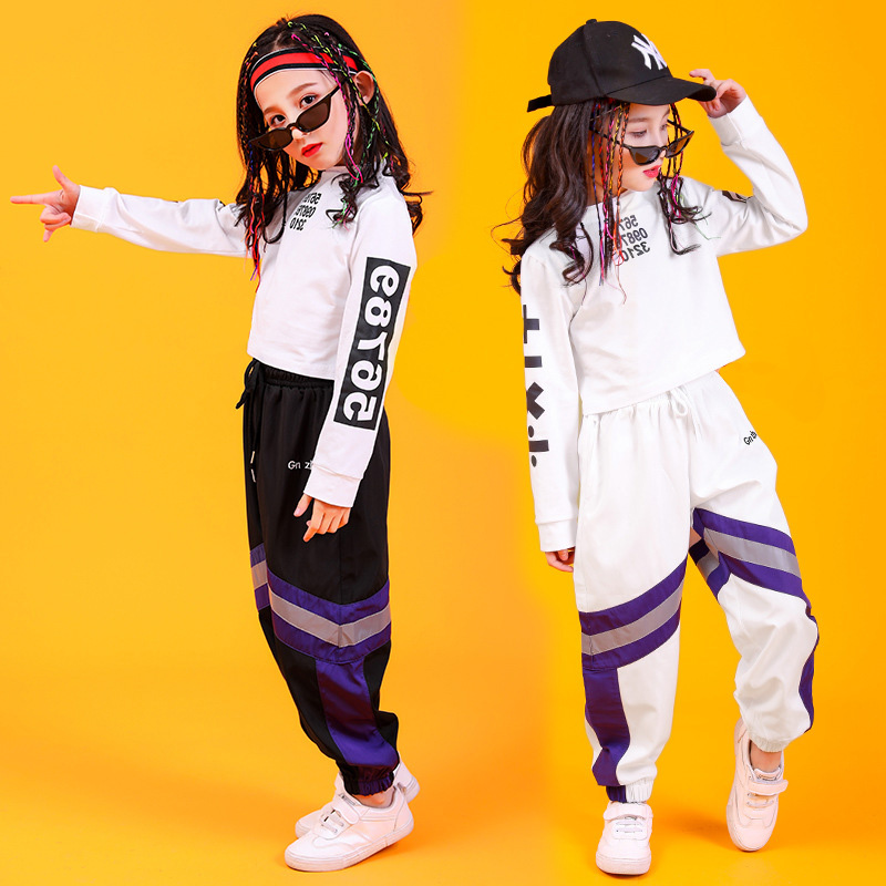 Children Cool Hip Hop Clothing High Neck Sweatshirt Top Crop Loose Running Casual Pants For Girl Jazz Dance Costume Clothes Wear