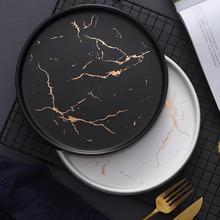 Скандинавский стиль Мраморное блюдо инновационное домашнее керамическое блюдо в стиле вестерн блюда для бифштекса тарелка Черная Посуда для завтрака плоская тарелка