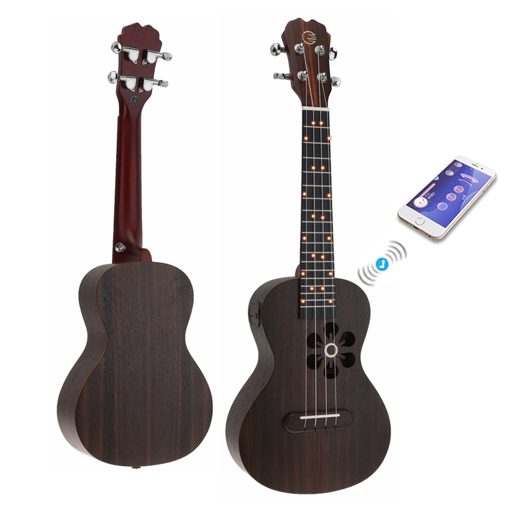 Ukulélé/S1/Q1/U1 23 pouces Concert Smart ukulélé chat oreille Style épicéa bois acoustique 4 cordes guitare avec APP enseignement