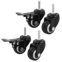 Rodízio giratório do freio do trole da roda de compras  1.5 Polegada  preto  4 peças|Rodízios| |  -