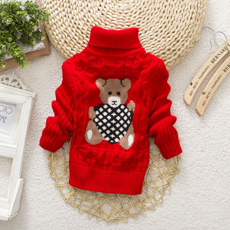PHILOLOGY 2T-8T bear winter boy girl kid thick Knitted bottoming turtleneck shirts baby high collar pullover toddler sweater 3