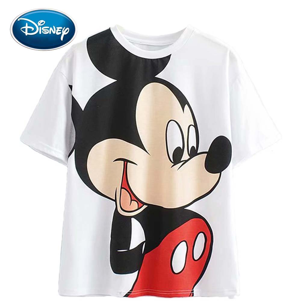 Disney Fashion Cute Mickey Mouse Cartoon Print White Women T-Shirt Casual O-Neck Pullover Short Sleeve Harajuku Loose Tee Tops