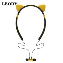 ZW29 Wireleess bluetooth Earphone Cat Ear Cartoon Cute Magnetic Headband Earbuds HiFi Lighting Sports Headset for Girls Gifts(China)