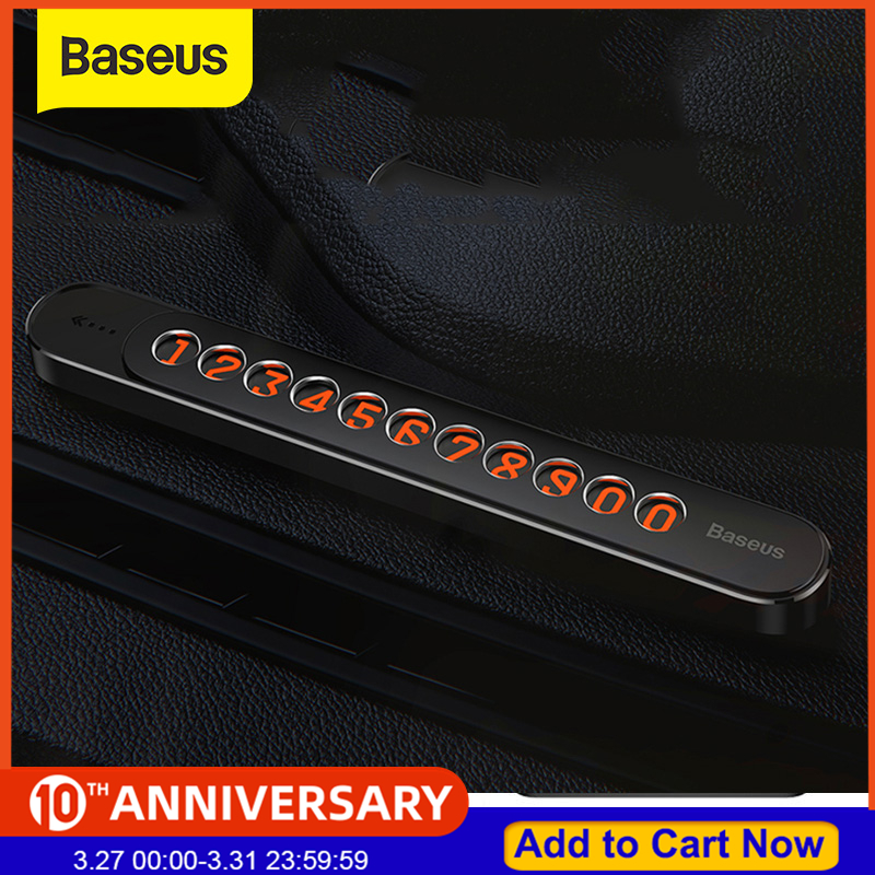 Baseus Car Sliding Cover Temporary Parking Number Plate Card Phone Holder Rotatable Magnetic Adsorption  Steady Car Parking Card
